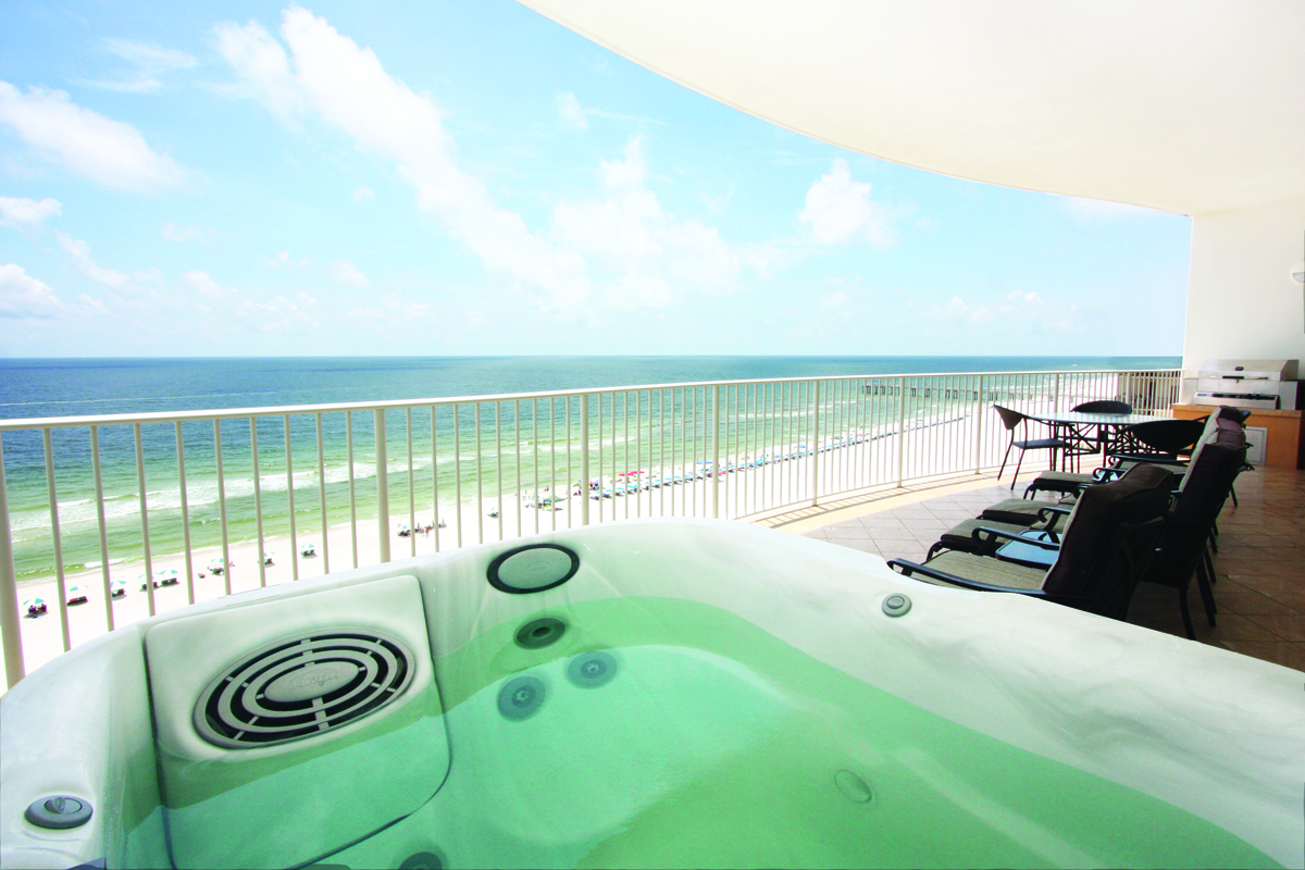 private balcony with hot tub at turquoise place resort
