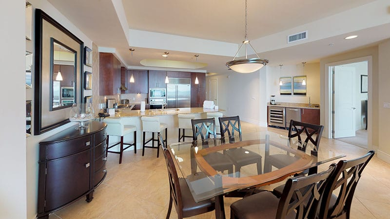 Dinner room and kitchen at Turquoise Place Orange Beach