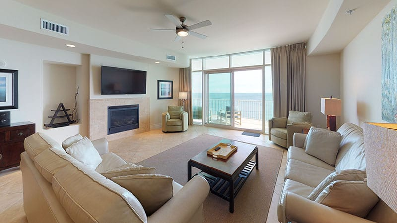 Condo living room at Turquoise Place Orange Beach