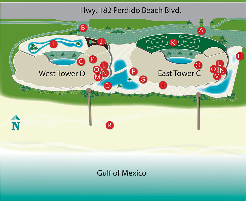 Map of Turquoise Place Orange Beach Alabama