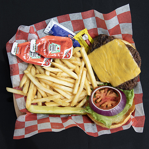 Cheeseburger and Fries at Change of Pace Restaurant at  Turquoise Place Orange Beach Alabama